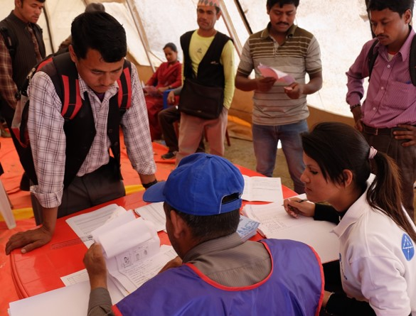 Enrollment Process in Dolakha District. Photo credit: World Bank